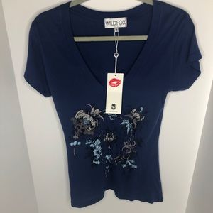 NWT Wildfox Graphic Tee sz Small in Navy